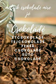 Melyik csokoládé mire jó, hogyan használjuk! – Tortaiskola Cereal, Chocolate, Breakfast, Desserts, Food, Morning Coffee, Tailgate Desserts, Deserts, Essen