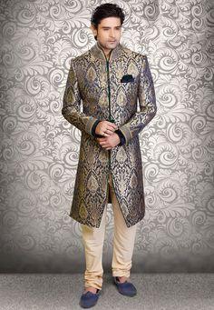 Buy Embroidered Brocade Sherwani in Dark Blue and Golden online, work: Embroidered, color: Dark Blue / Gold, usage: Wedding, category: Mens Wear, fabric: Art Silk, price: $470.00, item code: MHG269, gender: women, brand: Utsav
