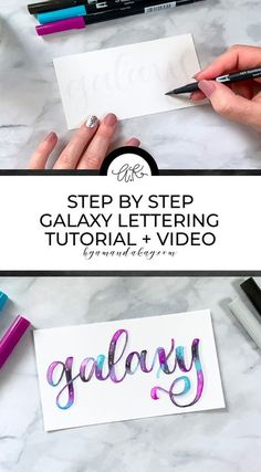 Learn how to create beautiful galaxy inspired blend on your lettering with Tombow dual brush pens. #blending #watercolor #handlettering #tutorial #byamandakay Brush Lettering, Watercolor Lettering, Watercolor Art, Letter Blends, Bullet Journal Font, Tombow Dual Brush Pen, Hand Lettering Tutorial, Bullet Journal Inspiration