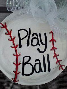 New Item Baseball Softball Painted Door or by KimberlySminkeyDsg, $35.00