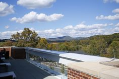 A view of the surrounding mountains from the top balcony of Rollins Campus Center.