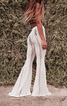 white knitted or crocheted lace bell bottom pants