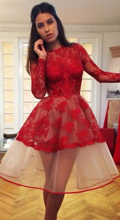 cd5fc7e2ffc Red Lace Appliques Sheer Charming Homecoming Dresses