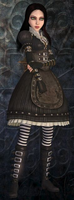 "Video game ""Alice Madness Returns"" The Steamdress. Alice in Wonderland Alice Liddell, Alice Madness Returns, Lewis Carroll, Geeks, Dark Alice In Wonderland, Alice Cosplay, Go Ask Alice, Chesire Cat, Steampunk Dress"