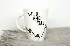 Coffee Mug Inspirational quote Wild and Free Mountain by MUNIshop, $15.00