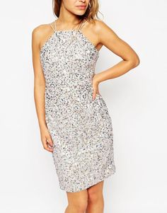 ASOS PETITE Drape Back Mini Pencil Dress with Iridescent Sequin UK 10/EU 38/US 6