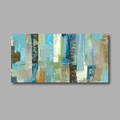 Stretched (Ready to hang) Hand-Painted Oil Painting 100cmx50cm Canvas Wall Art Modern Abstract Light Blue – GBP £ 61.94