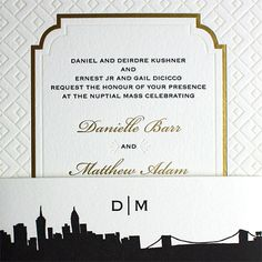 Danielle and Matthew – the stunning combination of gold foil frame and blind letterpress pattern make this a striking invitation. The belly band is the Riverside Drive suite skyline from our PostScript Brooklyn collection. - Lion In The Sun Park Slope Deco Wedding Invitations, Riverside Drive, Belly Bands, Pattern Making, Our Love, Gold Foil, Letterpress, Blind, Brooklyn