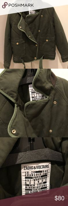 Zadig and Voltaire jacket Thick front button down olive green jacket only used once Zadig & Voltaire Jackets & Coats Utility Jackets