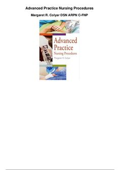Advanced Practice Nursing Procedures  Margaret R. Colyar DSN ARPN C-FNP Nursing Procedures, Pdf