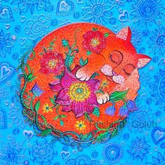 Art print Sweet dream Colorful stained glass painting Illustration drawing Red cat art Paint on glass Floral decorative ornaments Lotus Crazy Cat Lady, Crazy Cats, Stained Glass Paint, Cat Art Print, Red Cat, Cat Wallpaper, Cat Photography, Ginger Cats, Cat Tattoo