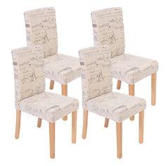 Precioso conjunto de 4 Sillas de Comedor DALI, Diseño Moderno, Crema con motivos, patas claras