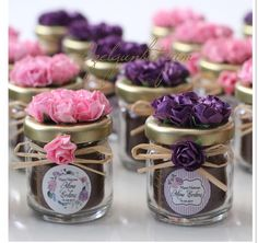 Sweet Wedding Favors, Wedding Favour Jars, Wedding Gift Wrapping, Wedding Gifts, Candle Packaging, Gift Box Packaging, Girl Baby Shower Decorations, Baby Decor, Honey Jar Favors