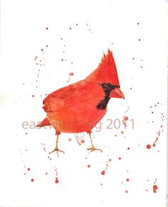 Birds watercolor  RED CARDINAL Art  Giclee Fine by eastwitching, $16.00