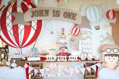 Incredible rustic hot air balloon birthday party! See more party planning ideas at CatchMyParty.com!