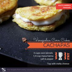 Ooey Gooey Venezuelan Cachapas >> Around the world in corn ~ 20 recipes to celebrate the harvest I Love Food, Good Food, Yummy Food, Maseca Recipes, Venezuelan Food, Latin American Food, Bread Substitute, Corn Cakes, Bread Cake