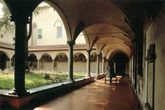 MONASTERY of SAN MARCO: View of interior halls and cloister. Many of the great figures of 15th-century culture and spirituality lived and worked in the convent: Cosimo il Vecchio de' Medici, had his own cell here, where he loved to pray and meditate.