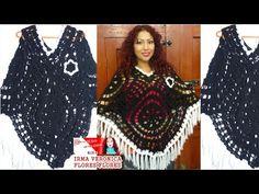 Cómo tejer Poncho Crochet con Cuadros Calados / Video Tutorial | Patrones para Crochet