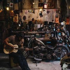 A true bike shed. Bikes ,denim , boots and tools
