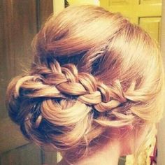 French Braid updo. Bridesmaid do. Krystal's Wedding.