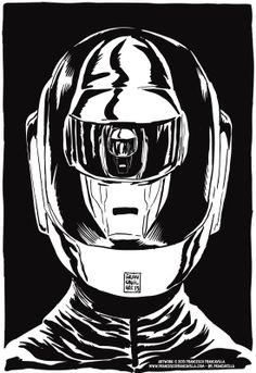 Daft Punk by Francesco Francavilla * #blackandwhite #daftpunk #music http://www.pinterest.com/TheHitman14/black-and-white/