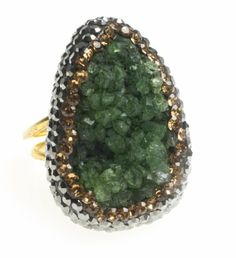 24K Yellow Gold Plated Drusy Quartz Natural Stone Black Yellow Diamond Accent Green Adjustable Ring Modern Curated Collection,http://www.amazon.com/dp/B00JHAEG8G/ref=cm_sw_r_pi_dp_RhxEtb11B342A26B #Handmade #Jewelry #Vintage #Antique #Design #Gemstone #Natural #Stone #Adjustable #Ring #ChicBahar #drusy #druzy