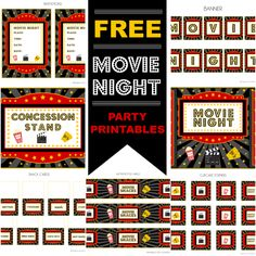 I would love to do a summer party.FREE Movie Night Party Printables by Printabelle Movie Theater Party, Movie Night Party, Family Movie Night, Cinema Party, Night Parties, Kid Parties, Backyard Movie Nights, Outdoor Movie Nights, Movie Themes