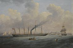 """""""The S.S. """"Great Britain"""" off Liverpool flying the atlantic flag"""",  Francis Hustwick,  1797-1865"""