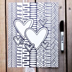 Printable Adult Coloring Pages Valentine's Day by PaisleyandHazel