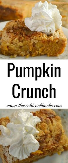 Pumpkin Crunch Dessert Recipe using Yellow Cake Mix With a crisp topping and a dollop of whipped cre Pumpkin Crisp, Pumpkin Pie Mix, Cake Mix Pumpkin Cookies, Pumpkin Cakes, Desserts For A Crowd, Delicious Desserts, Fall Desserts, Thanksgiving Desserts, Pumpkin Crunch Recipe