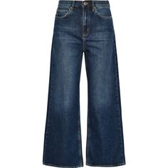 M.i.h Jeans Caron cropped mid-rise wide-leg jeans (€265) ❤ liked on Polyvore featuring jeans, pants, medium rise jeans, cropped jeans, wide leg blue jeans, button-fly jeans and retro jeans