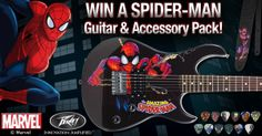 Like Peavey and enter to win a Spider-Man Guitar, a black leather Spider-Man guitar strap, and a Marvel Heroes pick pack!