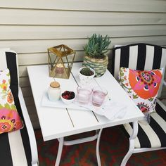 How to Update Old Patio Furniture When we first bought our condo, we bought an outdoor patio set for $60 from Home Depot. It was a brown color with red striped cushions and served us well. Then we got sick of it and slowly have updated it. Last summer we painted the whole set white …