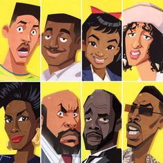 The Fresh Prince of Bel-Air Caricatures Black Love Art, Black Girl Art, Art Girl, Dope Cartoon Art, Cartoon Kunst, Fresh Prince, African American Art, African Art, Prinz Von Bel Air