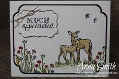Die Rehe aus dem Stempelset In the Meadow von Stampin' Up! sind wunderschön gezeichnet und lassen sich gut mit den anderen Naturmotiven aus dem Set kombinieren. #stampinup #DIY #Karten #Naturmotive #Rehe