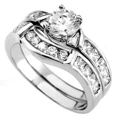 .925 Sterling Silver wedding set CZ Engagement Ring size 5-10 Bridal Ladies New #Unbranded