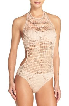Free shipping and returns on Kenneth Cole New York Wrapped in Love One-Piece Swimsuit at Nordstrom.com. Sheer mesh with braided straps boldly reveals and conceals on this flattering halter-neck swimsuit.