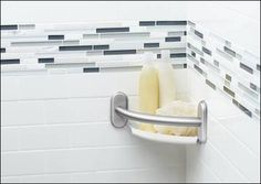 Moen Grab Bar With Corner Shelf Moen delivers another great shower grab bar that sits perfectly in the corner of your shower. This corner grab bar also has the Shower Grab Bar, Grab Bars In Bathroom, Small Bathroom, Design Bathroom, Bathroom Ideas, Bathrooms, Handicap Bathroom, Bathroom Wall, Porta Shampoo