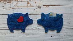 feltro nas mãos | projeto criativo: Conjunto: Porquinho Mealheiro (coração vermelho) +...