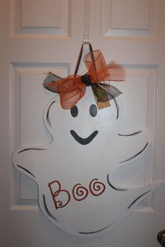 Wooden Ghost Door Hanger by ASouthernCreation on Etsy, $45.00