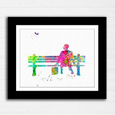 Forrest Gump Movie Watercolor Painting Print by RoseandElaine Forrest Gump Movie, Painting Prints, Watercolor Paintings, Canvas Background, Symbols, Posters, Embroidery, Movies, Etsy