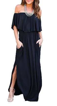 bd4a92a69752 Womens Off The Shoulder Ruffle Party Dresses Side Split Beach Maxi Dress at Amazon  Women s Clothing store