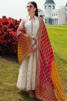 Buy Beige Rubber Printed Cotton Silk Designer Salwar Kameez Online in 2020 Party Wear Indian Dresses, Indian Gowns Dresses, Dress Indian Style, Indian Wedding Outfits, Hippie Dresses, Pakistani Dresses, Indian Outfits, Pakistani Kurta, Salwar Suits Party Wear