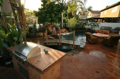 Backyard Living Space, Pool, Grill, Fire Pit  Backyard Landscaping  Lisa Cox Landscape Design  Solvang, CA
