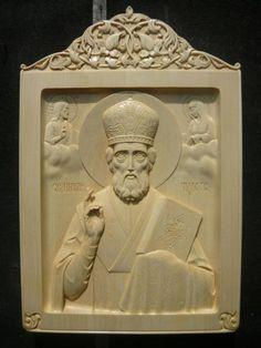 Икона св. Николай Чудотворец   Резьба по дереву, кости и камню