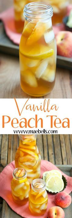 Sweet and refreshing Vanilla Peach Tea is the perfect Summer drink! Serve with fresh peach and lemon slices for simple Summer entertaining! Refreshing Drinks, Summer Drinks, Fun Drinks, Healthy Drinks, Beverages, Summer Parties, Tea Parties, Summer Desserts, Summer Recipes