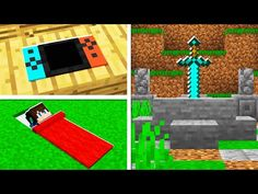 5 Building HACKS You Didn't Know in Minecraft! (NO MODS!) - YouTube Minecraft Sword, Easy Minecraft Houses, Minecraft Room, Cool Minecraft, Minecraft Creations, Minecraft Designs, Minecraft Furniture, Minecraft Skins, Minecraft Buildings
