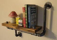 Industrial Shelving Pipe Shelf Wood Shelf Made From Local and Rescued Hardwood Maple