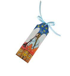 Drewniana zakładka do książki, malowana ręcznie z motywem anioła. Motyw anioła jest jednostronny. Z drugiej strony zakładki znajduje się ręcznie malowany ornament w kolorze jasnoniebieskim. Zakładka została zabezpieczona przed zniszczeniem bezwonnym lakierem.  Wymiary 5x15cm, grubość 3mm. Tasiem ... Motto, Christmas Ornaments, Holiday Decor, Outdoor Decor, Home Decor, Decoration Home, Room Decor, Christmas Jewelry, Christmas Decorations