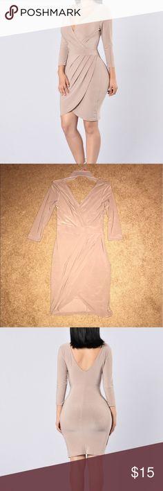 Tan dress. Brand new Fashion Nova tan dress. Size small. Fashion Nova Dresses Midi